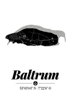 Baltrum | Landkarten-Design | Insel Silhouette | Schwarz-Weiß von ViaMapia