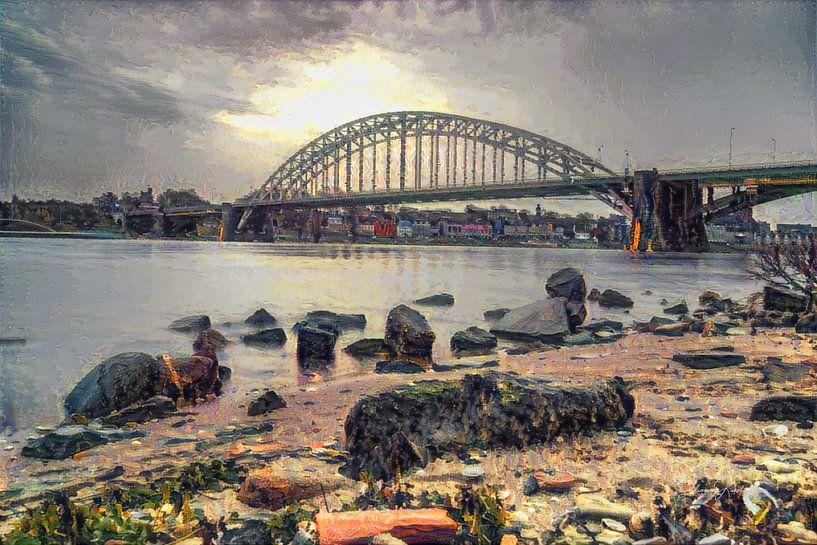 Impressionistisch kunstwerk van Nijmegen - Strandje, de Waal en de Waalkade van Slimme Kunst.nl