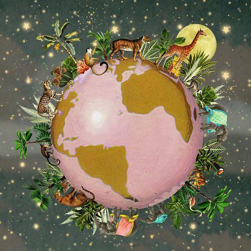 Wereldbol met tropische planten en jungle dieren