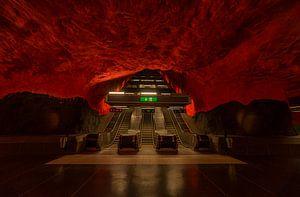 Stockholm metrostation rood zwart by Wouter Putter Rawbirdphotos van Rawbird Photo's Wouter Putter