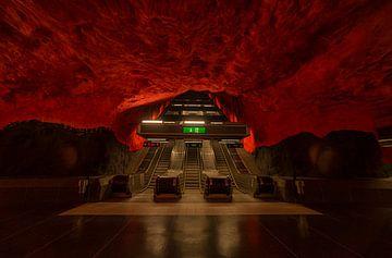 Stockholm U-Bahnstation rot schwarz von Wouter Putter Rawbirdphotos von Rawbird Photo's Wouter Putter