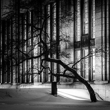 Baum und Gebäude in der Nacht im Schnee, Helsinki, Finnland von Bertil van Beek
