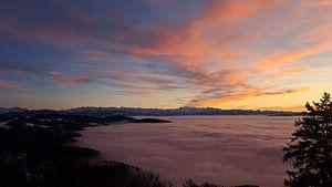 De Alpen Boven De Zee Van Wolken van