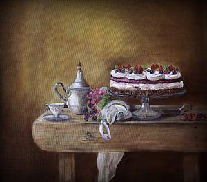 stilleven met taart.. ( olieverfschilderij op canvas) van Els Fonteine
