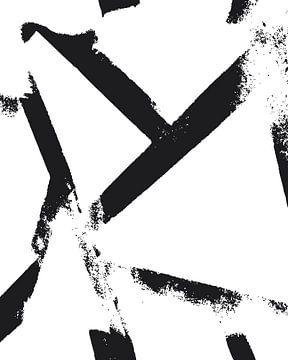 Zwart-wit houtsnede van Mad Dog Art