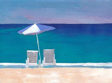 Strandstuhl und Sonnenschirm am Strand von Markus Bleichner