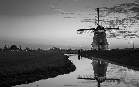 Windmolen Volendam Zwart wit
