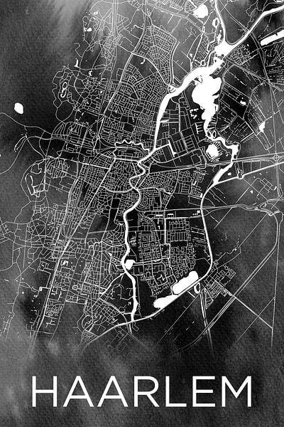 Haarlem | Plan de la ville sur aquarelle monochrome sur Wereldkaarten.Shop
