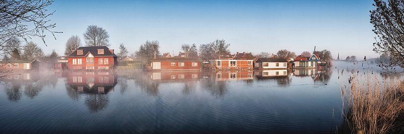 Hausboote auf der Vecht bei Weesp von Frans Lemmens