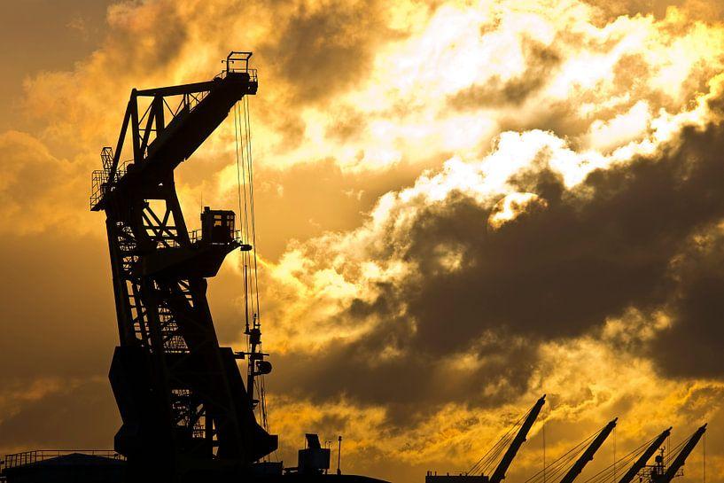 Kraan tijdens zonsopkomst in de Rotterdamse haven van Anton de Zeeuw