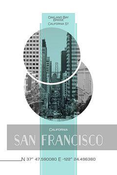 Poster Art SAN FRANCISCO California Street van Melanie Viola