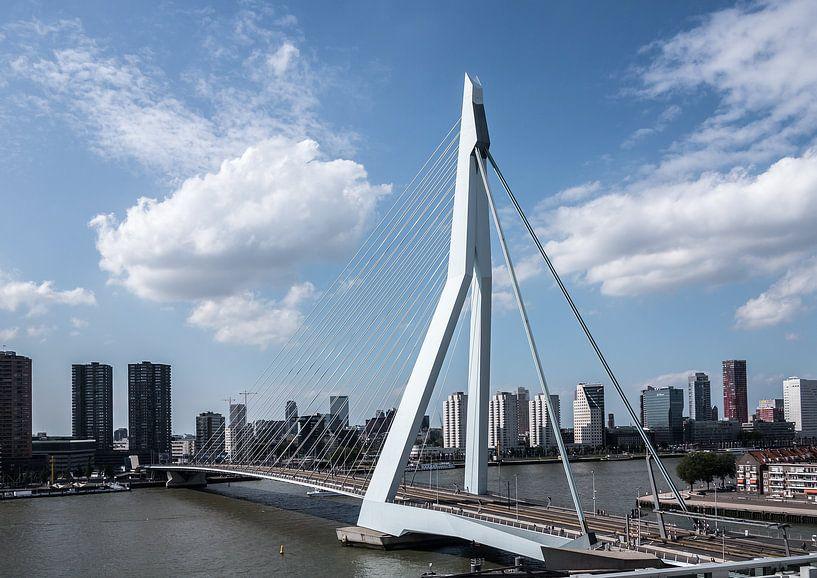Erasmusbrug en skyline van Rotterdam van Jim van Iterson