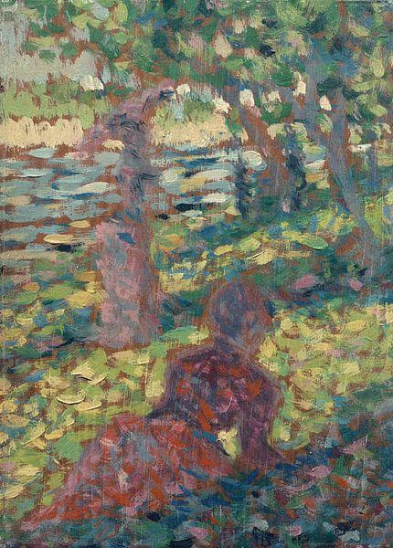 Georges Seurat~Frau in einem Park von finemasterpiece
