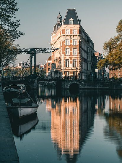 Aluminium bridge over Amsterdam canal, Netherlands.