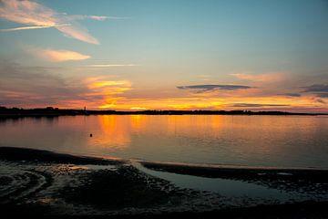 Sunset in the tideland on Amrum van Alexander Wolff