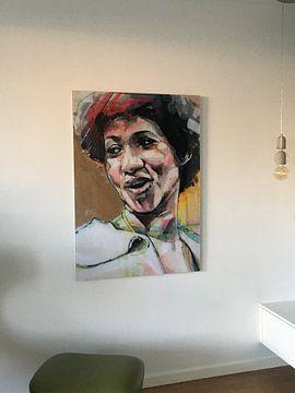 Kundenfoto: Aretha Franklin Malerei von Jos Hoppenbrouwers