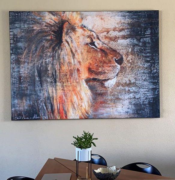 Klantfoto: Lion Night van Atelier Paint-Ing, op print op doek