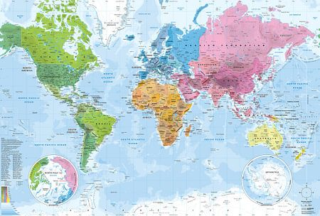 Weltkarte, Kontinente und Ozeane