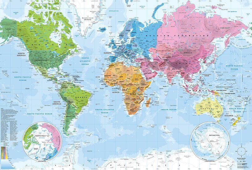 Wereldkaart, Continenten en oceanen van MAPOM Geoatlas