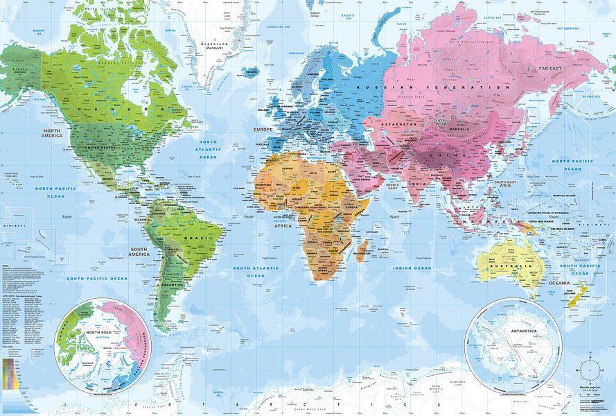 Wereldkaart, Continenten en oceanen