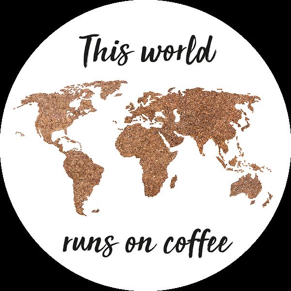 Wereldkaart Koffiebonen met Quote   Wandcirkel van Wereldkaarten.Shop