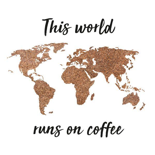 Wereldkaart Koffiebonen met Quote | Wandcirkel van Wereldkaarten.Shop
