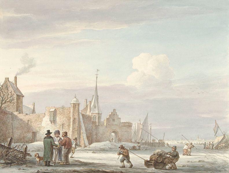 Stadtbild im Winter, Martinus Schouman von Meesterlijcke Meesters