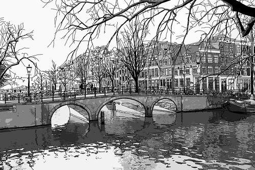Aquarel Tekening Brouwersgracht Keizersgracht Amsterdam
