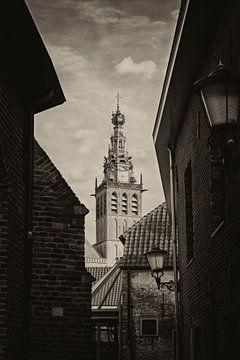Vue en noir et blanc sur le Stevenskerk Nijmegen