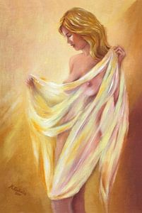 Naakt met een doek - erotische schilderij
