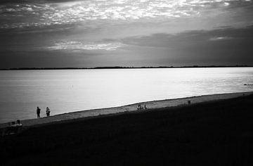 Zeeland Beach in Schwarz-Weiß von Guido Coppis
