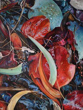 Rood en turquoise herfst van KB Prints