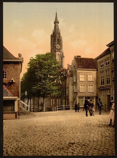 Vismarkt en Nieuwe Kerk, Delft van Vintage Afbeeldingen