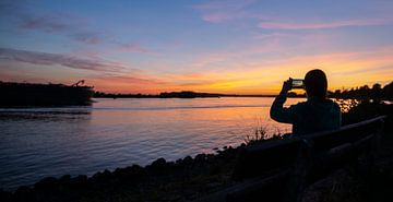 Coucher de soleil sur la Meuse de Rotterdam sur Peter de Jong