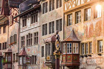 Rathausplatz in Stein am Rhein in Zwitserland van Werner Dieterich