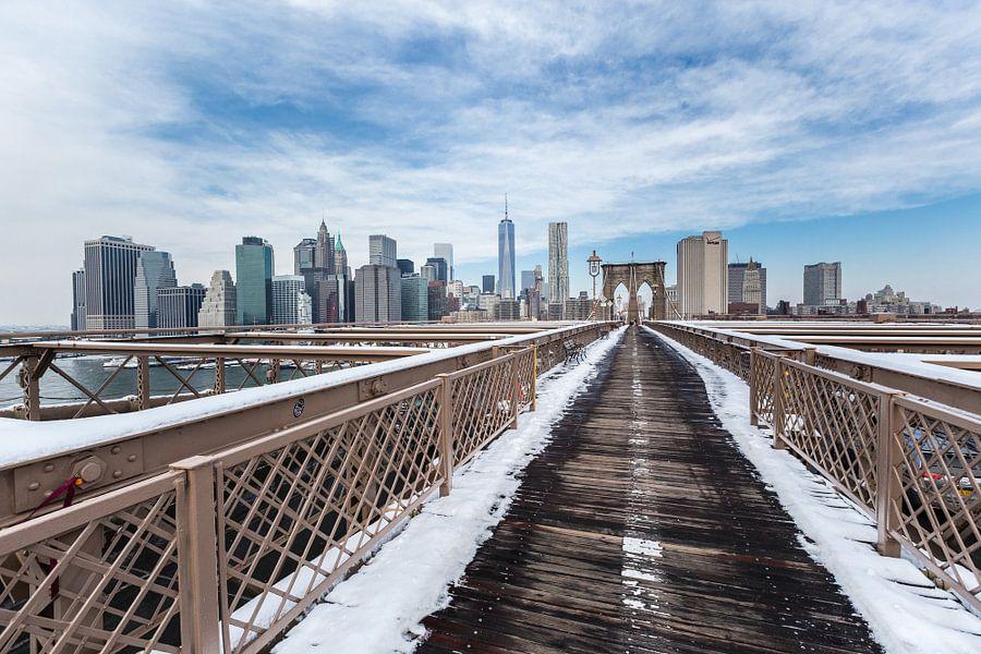 New York skyline met Brooklyn Bridge van Inge van den Brande