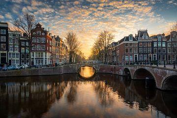 Keizersgracht, Amsterdam - Zonsondergang van Tomas van der Weijden
