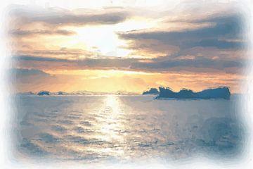 Antarctica zonsondergang van Maurice Dawson