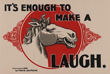 Grappige oude poster van een lachend paard uit 1896 van Atelier Liesjes