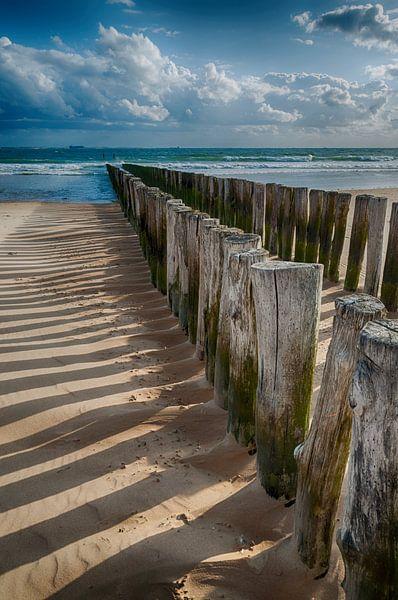 Wellenbrecher in HDR von Zeeland op Foto