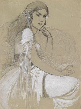 Tochter des Künstlers, Jaroslava Mucha, Alphonse Mucha, 1920er Jahre