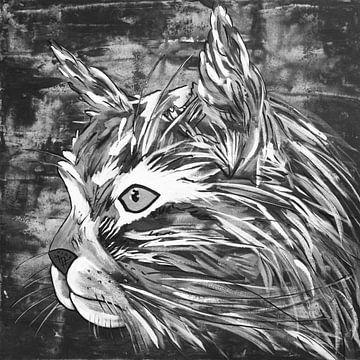 Katze Schwarz und Weiß von Kathleen Artist Fine Art