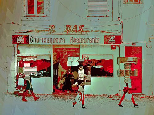 Passing the restaurant von Gabi Hampe