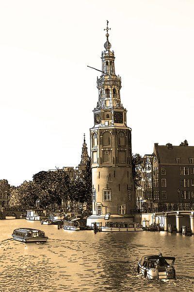 PentekeningAmstel Montelbaanstoren Amsterdam Nederland Tekening Lijntekening Oud van Hendrik-Jan Kornelis