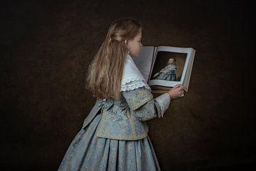 """""""Het meisje gekleed in het blauw""""  Naar de oude Hollandse meester Johannes Corneliszoon Ve van ingrid schot"""
