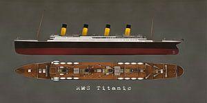 Retro – Klassiek  RMS Titanic zijkant en bovenkant