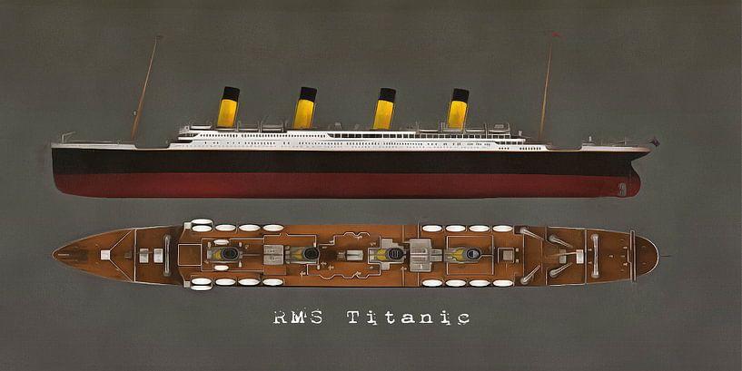 Retro – Klassiek  RMS Titanic zijkant en bovenkant van Jan Keteleer