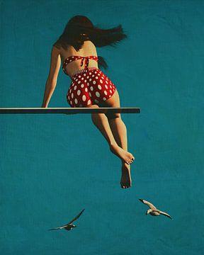 Fille portant un bikini sur le plongeoir sur Jan Keteleer