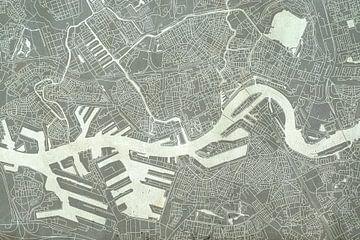 Rotterdam | Carte de la ville en béton sur - Wereldkaarten.shop -