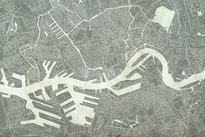 Rotterdam | Stadskaart in Betonlook van - Wereldkaarten.shop -